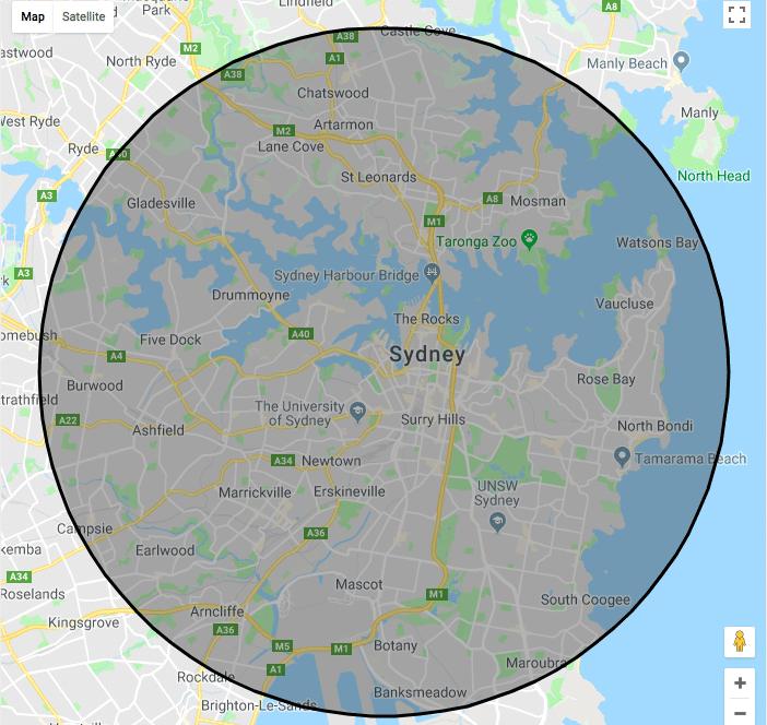 10km radius of Sydney CBD map