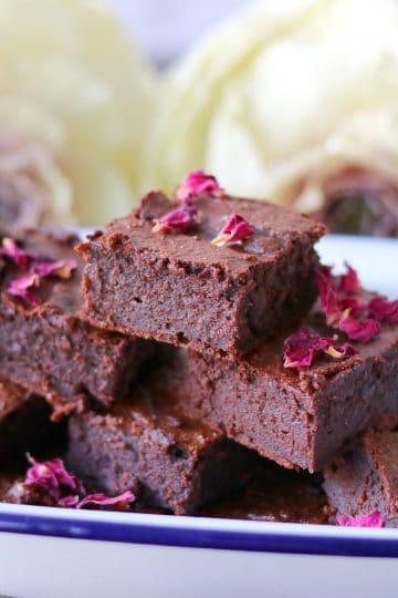 Wholesome chocolate brownies with chocolate chunks